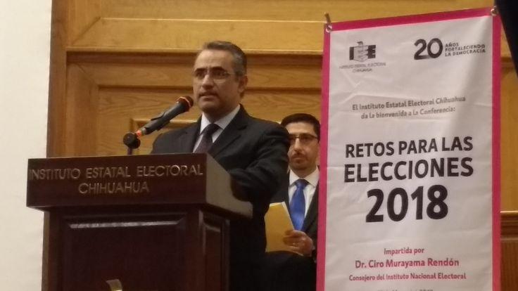 <p>Chihuahua, Chih.- En el marco del 20 aniversario de! Instituto Estatal Electoral, se llevó a cabo la conferencia Retos para las Elecciones 2017,