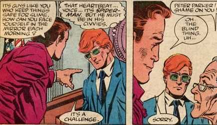 """Matt Murdock's Daredevil powers allow him to recognize superheroes (and villains) outside of their costumes. It takes tact (and his radar sensing whether they're in cosplay or clothesplay) to recognize who they are. (Thank you, Mrs. Parker, for shaming me for my """"didn't see it coming"""" jokes re blind Marvel characters.)"""