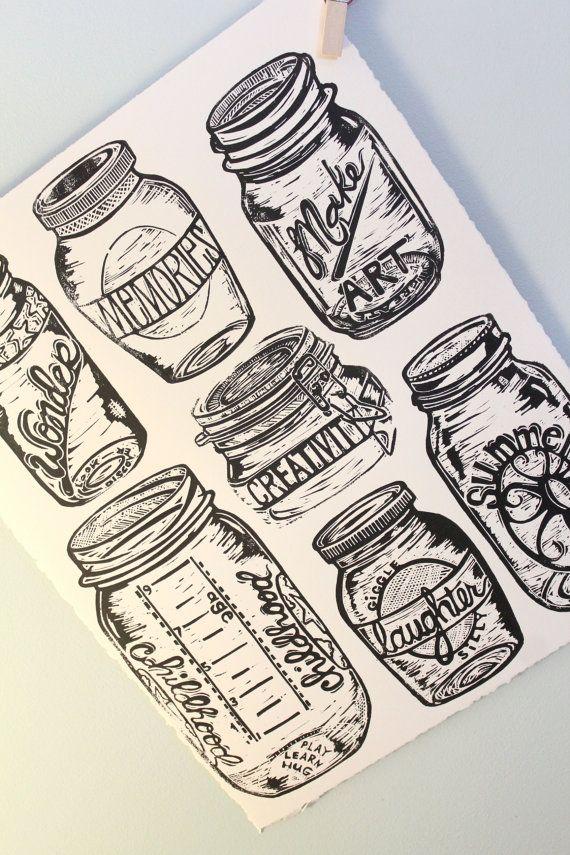 """Mason Jars"" linocut by Sarah May. http://www.etsy.com/uk/people/block21prints?ref=ls_profile. Tags: Linocut, Cut, Print, Linoleum, Lino, Carving, Block, Woodcut, Helen Elstone, Glass Jars, Lettering, Fonts, Typography."