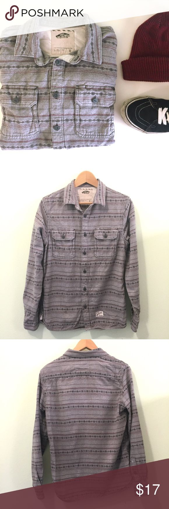 Vans Buttondown Shirt • Vans Buttondown Long Sleeve Shirt • in great condition • Light gray in color with dark gray and Burgundy detail • Feature two chest pockets • Made in India • 100% cotton Vans Shirts Casual Button Down Shirts