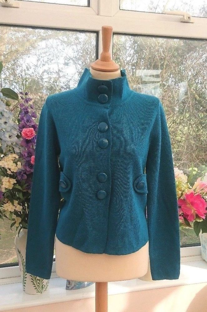 Gorgeous MONSOON Turquoise blue Wool blend cardigan jacket