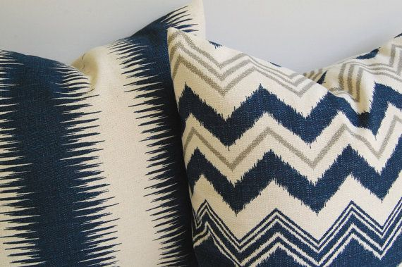 FALL SALE Navy and Natural pillow covers set of by ThePillowPeople