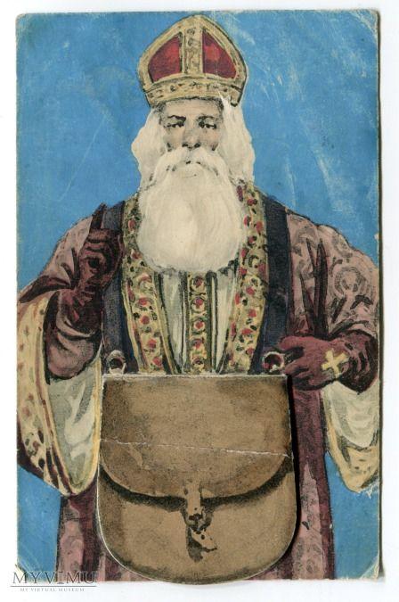Mikołaj mechaniczna Novelty Santa Claus Postcard (1910)