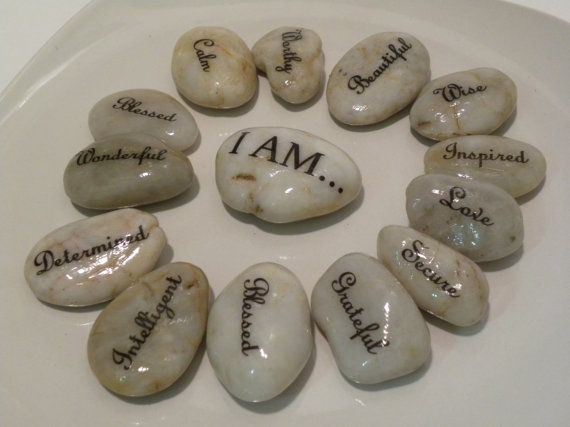 Choose your words!  Inspiration Stones; I AM . . . great affirmations for clients, friends and family.   Word stones, affirmations, message stones inspirational rocks therapy office inspirational stones