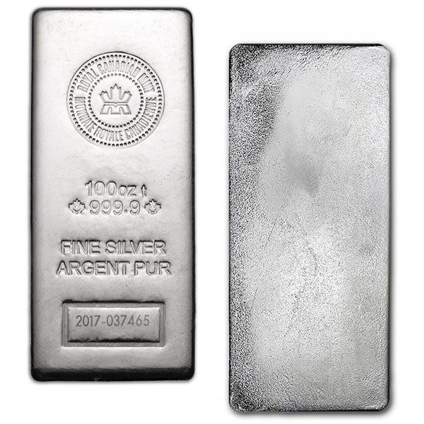 100 Oz Royal Canadian Mint Silver Bar 9999 Silver New Style Silver Bars Silver Investing Silver Bullion