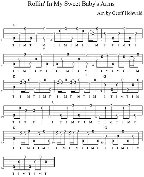 Roll In My Sweet Babys Arms Easy  Banjo Tabs, Banjo -2147