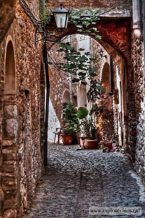 Browsing the cobblestone alleys on the atmospheric medieval villages of mastic in Chios  source: explorechios.gr