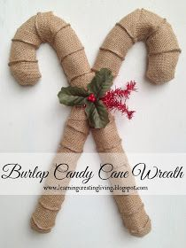 Learning Creating Living: Burlap Candy Cane Wreath