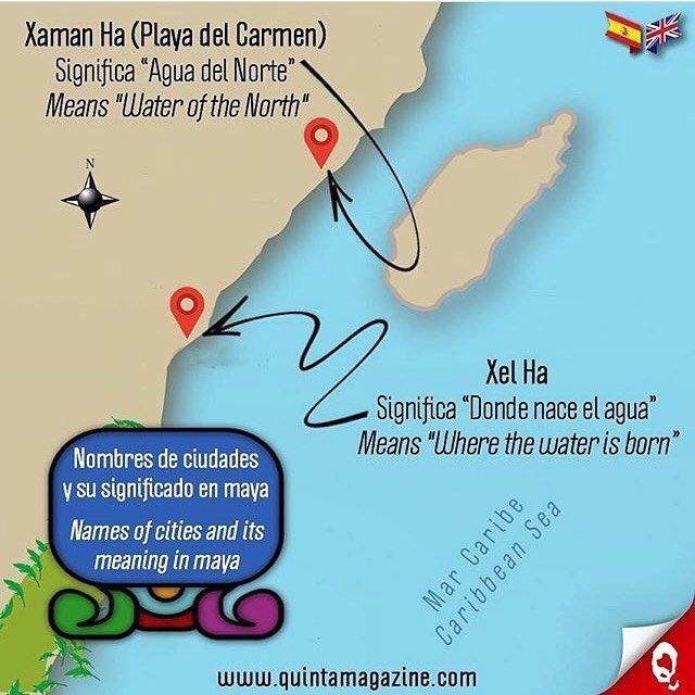 Nombres de las ciudades en la Riviera Maya y su significado en lengua maya [Xaman Ha (Playa del Carmen) y Xel Ha] 🌞 Names of the cities in the Riviera Maya and its meaning in maya language [Xaman Ha (Playa del Carmen) and Xel Ha] ☀💦🌴👙🐠🇲🇽 #infografía #infographic #ciudades #cities #nombres #names #maya #language #paraíso #paradise #caribe #caribbean #cultura #culture #informacion #information #interesante #interesting #mapa #map #quintamagazine #xamanha #xelha #playadelcarmen…