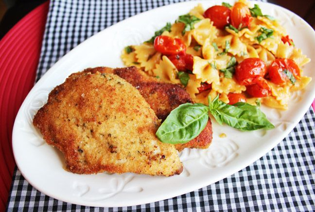 Crispy Skillet Chicken with Bruschetta Pasta