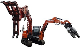 建設通信新聞の公式記事ブログ: ガンダムまであと一歩!? 日立建機が「双腕油圧ショベル」をついに商品化