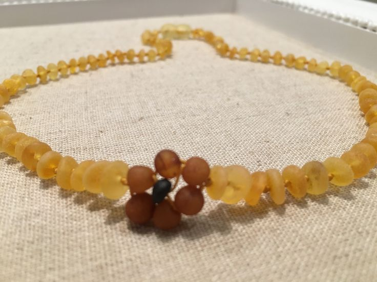15 or 17 inch Raw UnPolished Lemon Black Cherry 1-Flower Baltic Amber Necklace for Teen or Adult arthritis carpal tunnel cramps sciatica headache back pain