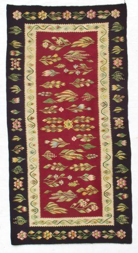 "$325 Bessarabian Kilim - Romania, circa 1900, excellent condition. Dimensions: 2'6"" x 5'8"" (76cm x 173cm)    Condition report  Used"