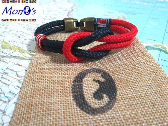 Bracciale con chiusura in Zamak Blu e rosse Men's nautical bracelet with zama clasp
