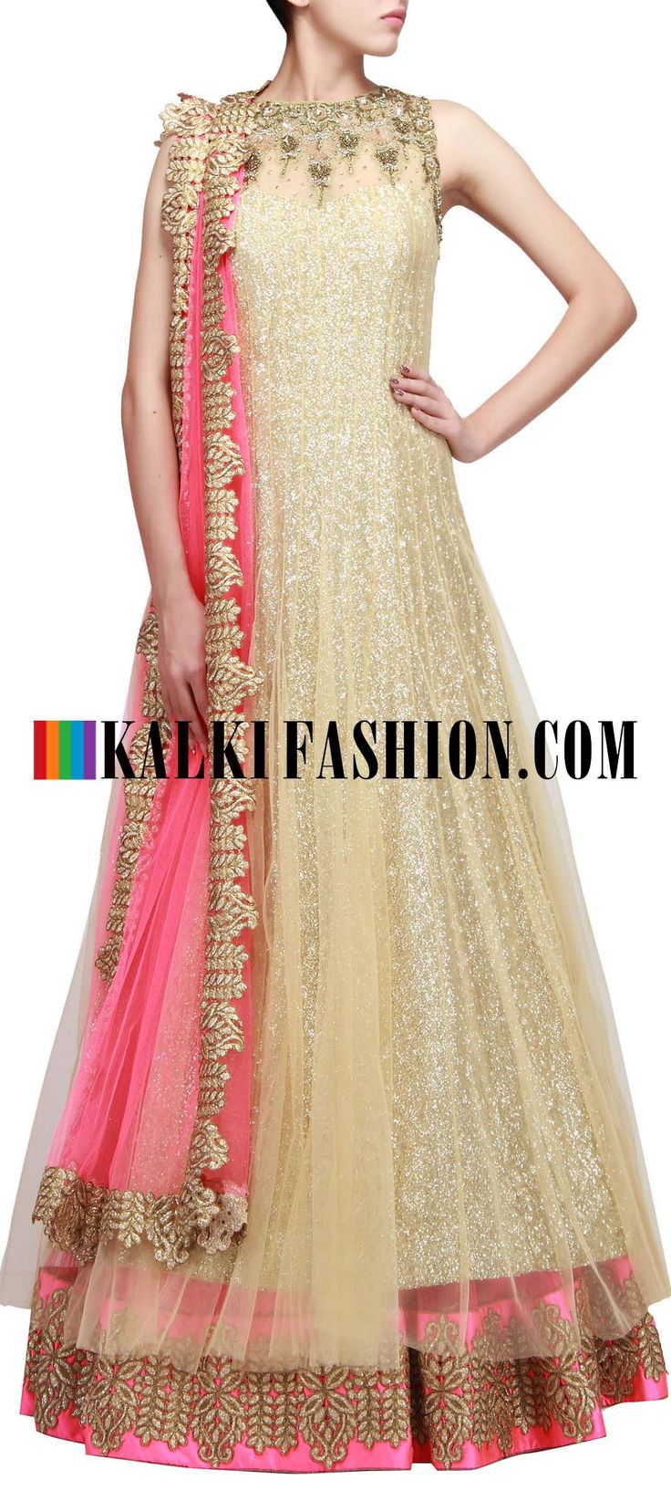 Get this beautiful golden outfit here: http://www.kalkifashion.com/beige-anarkali-lehenga-with-embroidered-neckline-only-on-kalki.html Free shipping worldwide. #50ShadesOfGold