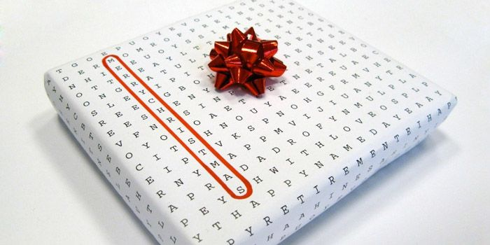 Word puzzle universal wrapping paper - just circle the holiday you're gifting for!