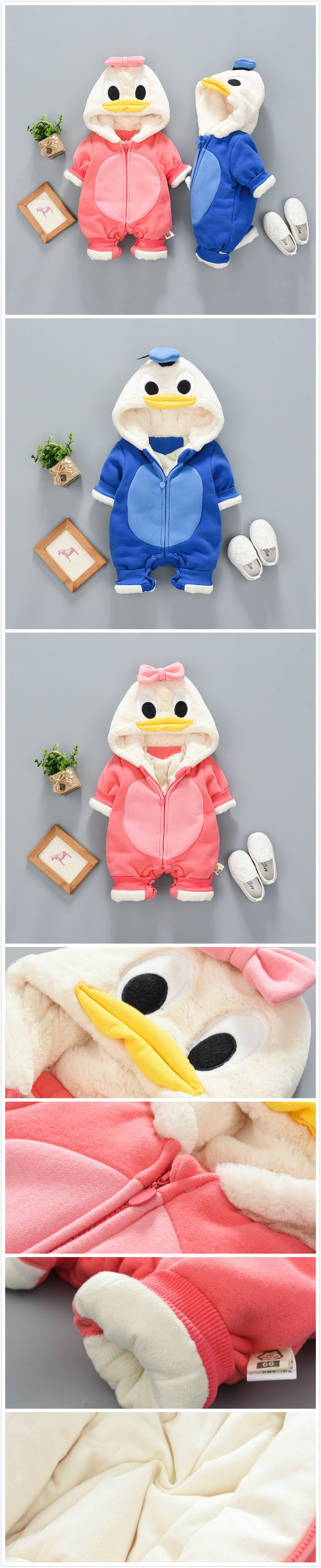 2-Color Cute Cartoon Duck Baby Winter Warm Hooded Jumpsuit