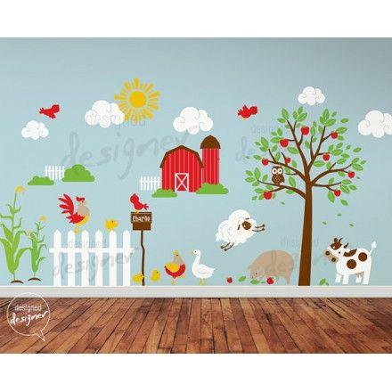 Muursticker boerderij met appelboom en dieren - Love For Deco