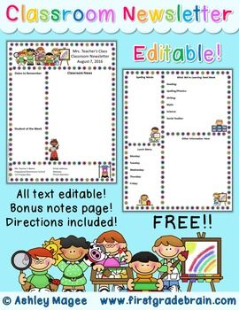 free editable teacher newsletter template classroom management
