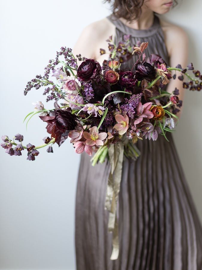 Sarah's bouquet burgundy and peach ranunculas