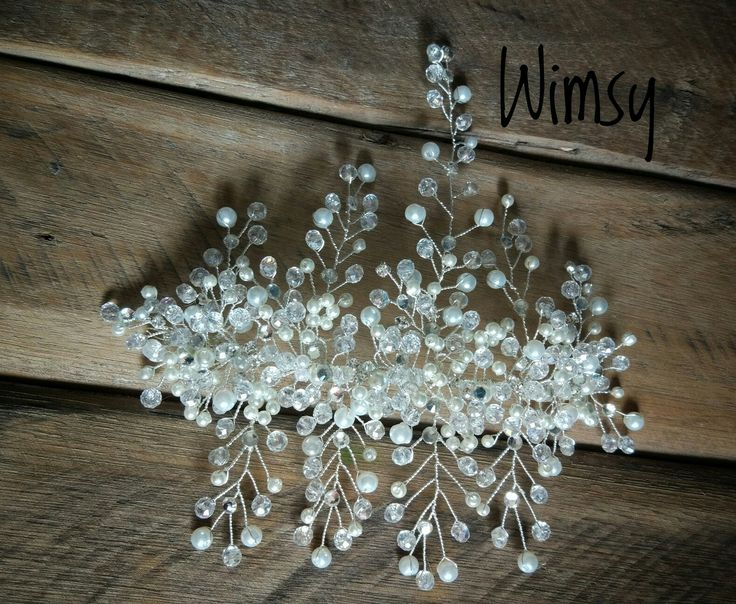 Crystal, pearl and diamante handmade hair comb with vines.