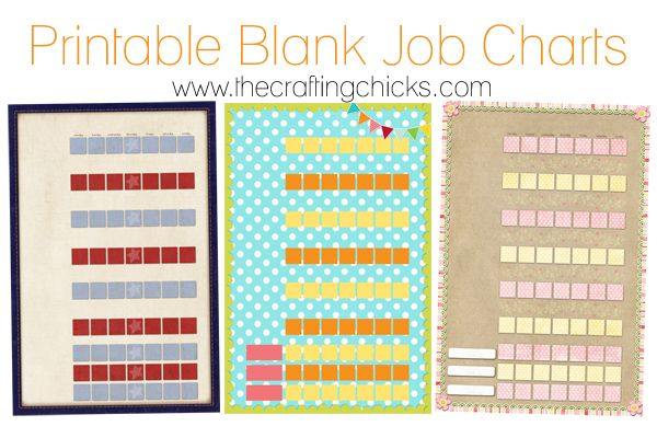 Printable Job Chart Posters.  Laminate them and personalize for your family.  Great idea!