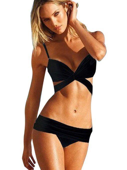 GILOLA Donne Avvolgere Bikini Della Spiaggia Costume Da Bagno Spinge Verso Medium Nero