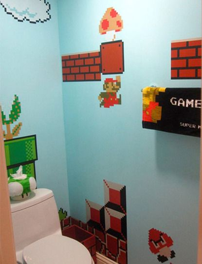 My boys would LOVe to have a bathroom like this!!!! I don't think I would ever go this far in decorating a bathroom for them , but its cute none the less.. lol Maybe have the walls look like that in their bedroom instead! :)