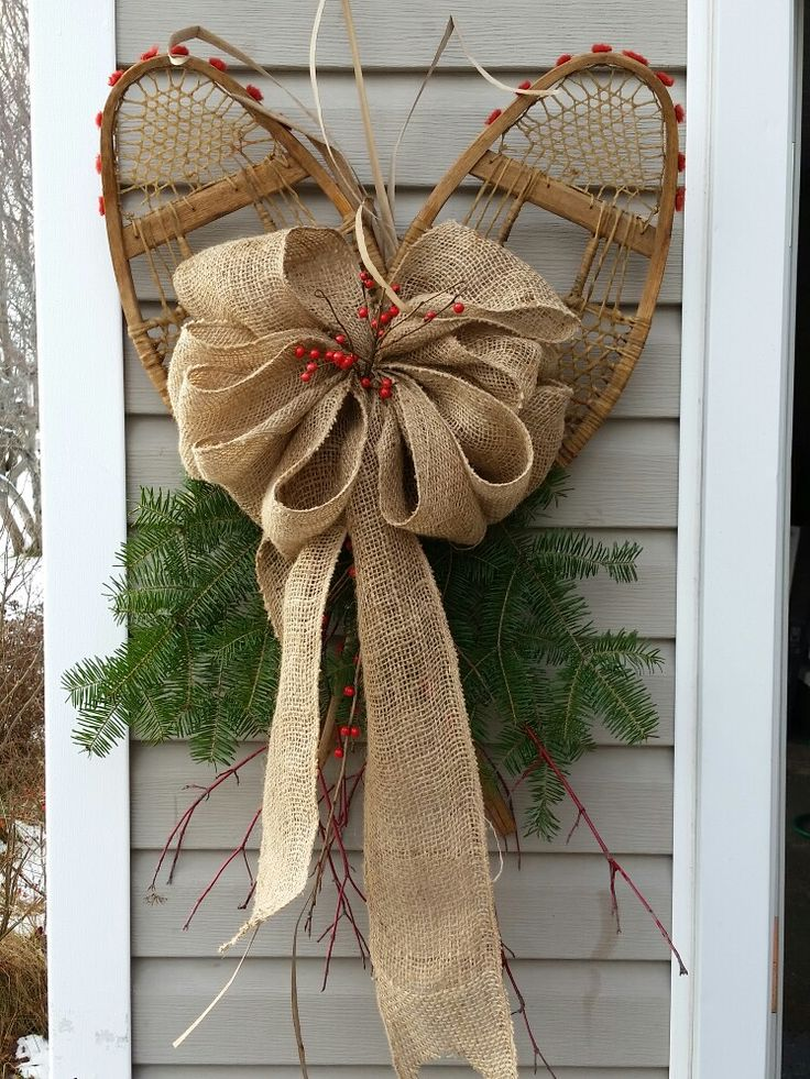 Snowshoes decorated Christmas or winter decor
