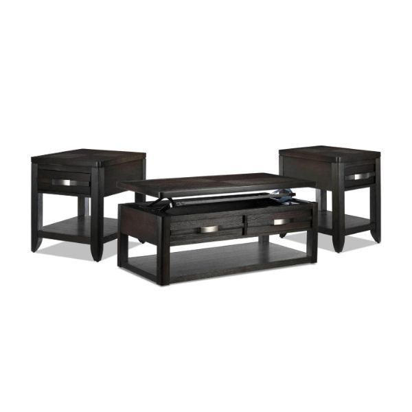 Manila Lift Top Coffee Table End Table And Chairside Table Set Grey
