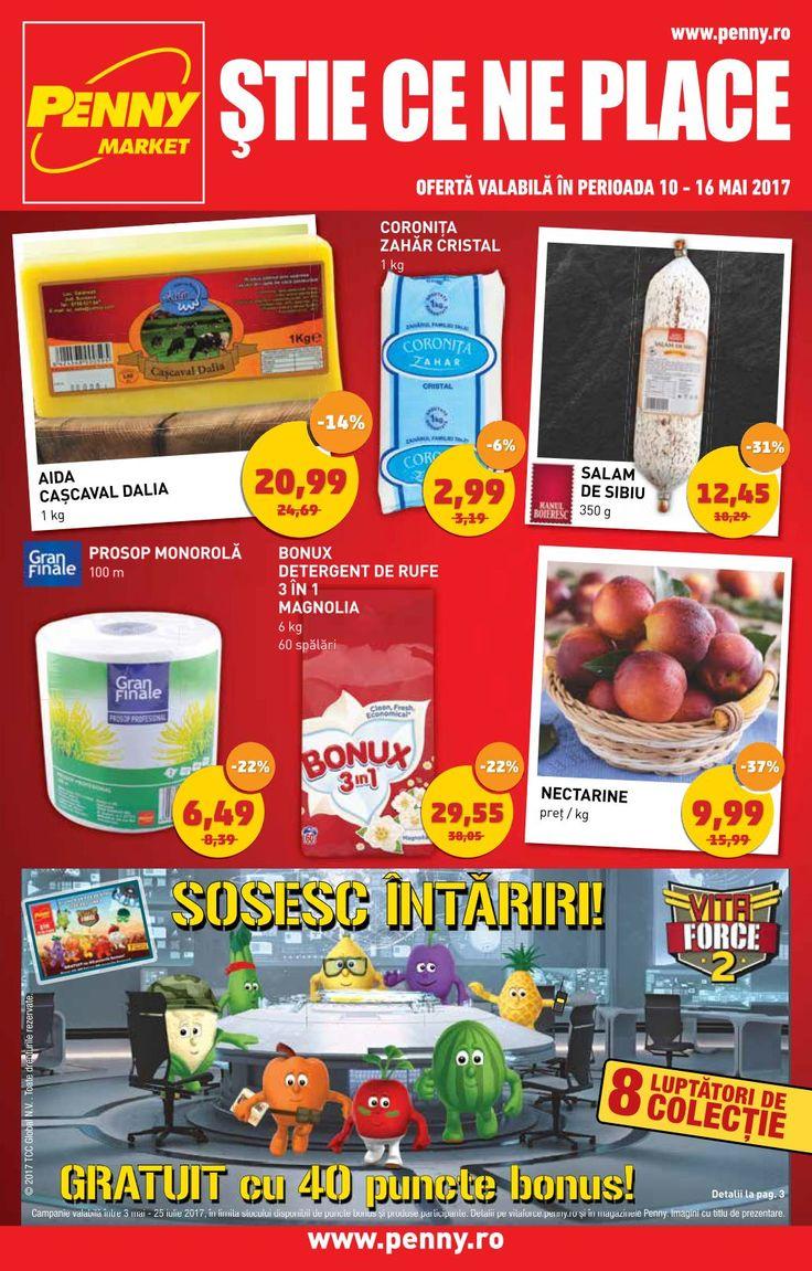 Catalog Penny Market Alimentare & Nealimentare 10 - 16 Mai 2017! Oferte si recomandari: nectarine 9,99 lei; salam de Sibiu 12,45 lei; Aida cascaval
