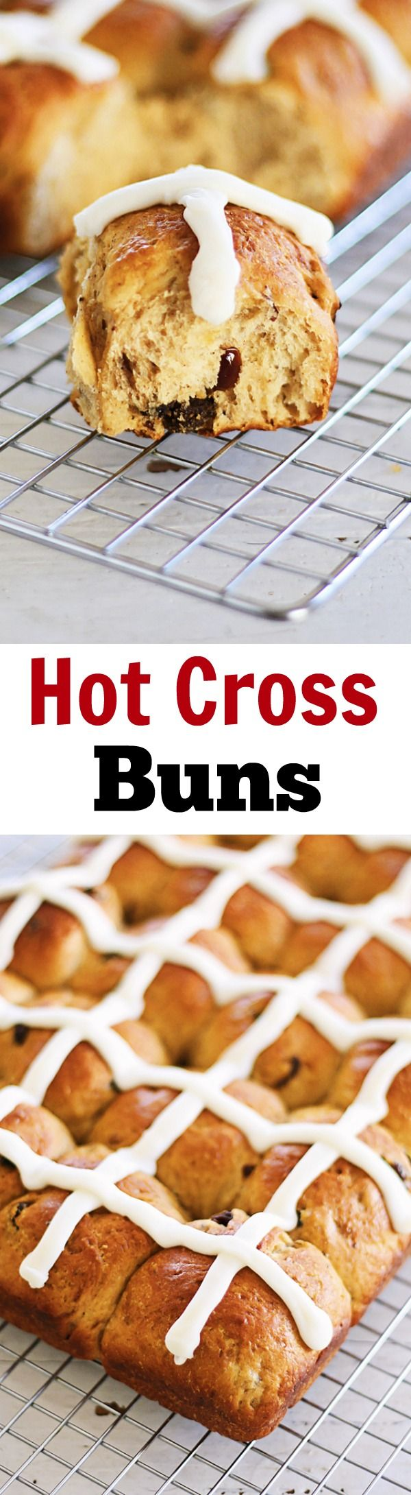 Hot Cross Buns – soft, fluff and pillowy hot cross buns spiced with cinnamon, cloves and loaded with dried fruits. So good you can't stop eating!! | rasamalaysia.com