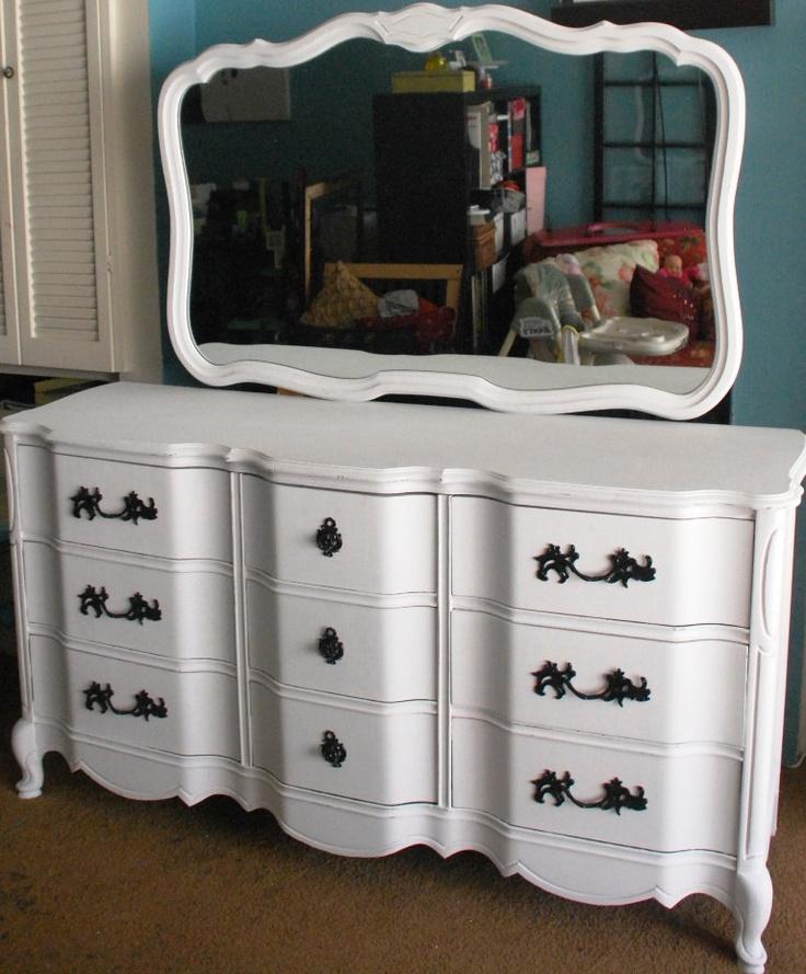 Custom Vintage White Shabby French Provincial Dresser with Mirror. $455.00, via Etsy.