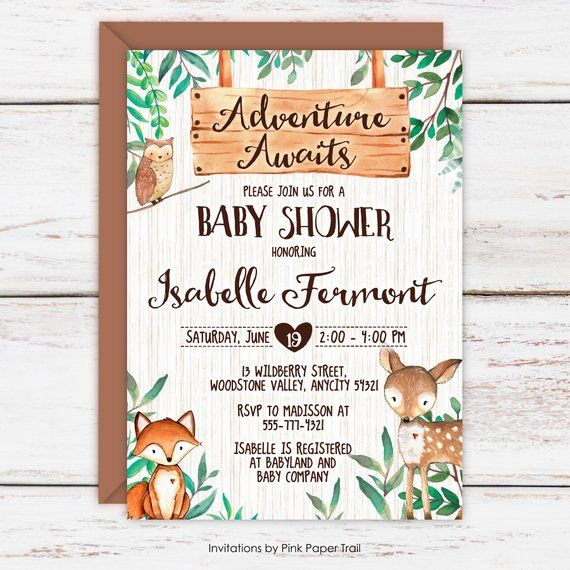 Woodland Baby Shower Invitation Girl Or Boy Woodland Invite Adve Woodland Baby Shower Invitations Baby Shower Invites For Girl Baby Shower Woodland