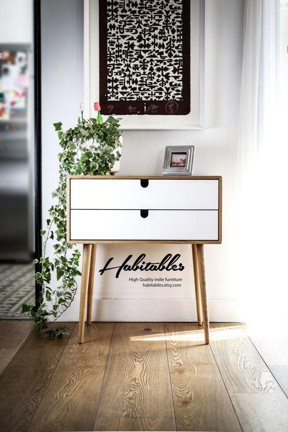 Mid-Century / tabela de entrada/ Dresser / cômoda / Frame console e pernas feitas em madeira de carvalho, e gavetas lacado a branco