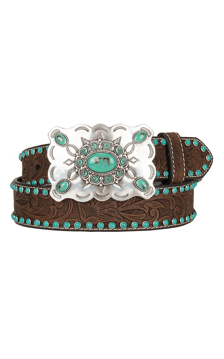 Nocona Women's Tooled Brown With Turquoise Western Belt N3472044