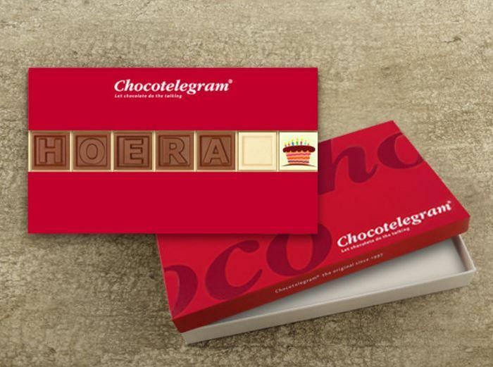 Zorg voor een origineel cadeau! Zeg het met chocolade, valt altijd in de smaak!  7 letters naar keuze, in melk, witte of pure CALLEBAUT chocolade