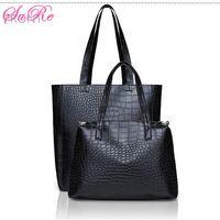 Women Causal 2 Black Crocodile PU Leather Tote Bags 2 Sets