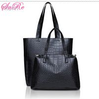 Women Causal 2 Black Crocodile PU Leather Tote Bags 2 Sets