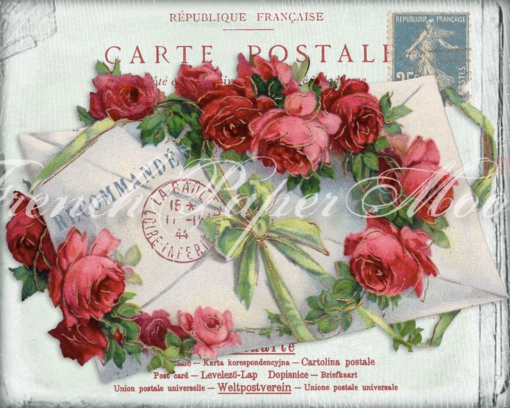 Gorgeous Digital French Shabby Chic Postcard, Roses, French Letter Collage, Pillow Image, Iron On Fabric by FrenchPaperMoon on Etsy