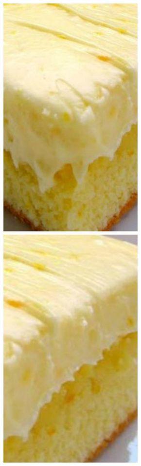 Orange Cake Recipe -~ Homemade cake with orange juice and orange zest - topped with a homemade orange cream cheese frosting.