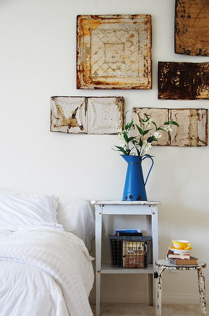 old ceiling tiles as wall art