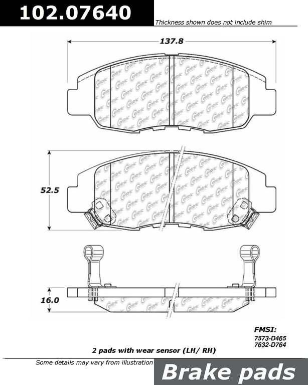Brand:Centric Part Number:102.07640 Category:Brake Pad  Price : $12.34 2Years Warranty,lowest Prices On Acura Brake pads
