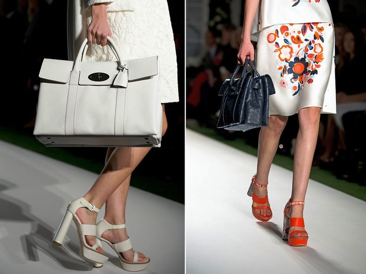 Mulberry White Double Sided Bayswater and Black Bag Runway Spring 2014