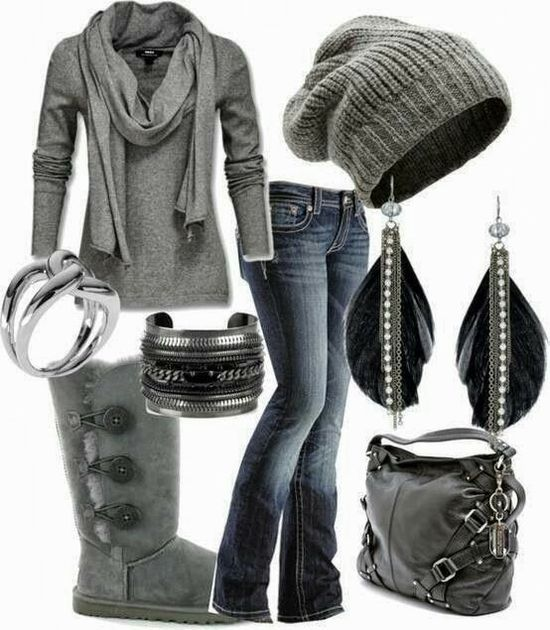 Women's outfits. Women's fashion. Women's clothes. Winter. Boots. Grey. Beanie. Feather earrings.