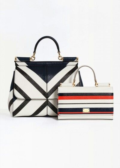 Dolce & Gabbana Summer 2016 Fashion Marine Stripes Bags inside the Woman Collection 'Spring in the City'.