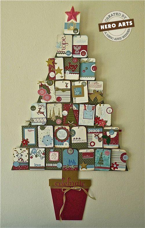 Joulukuusi-kalenteri korteista, voisi tehdä myös luokkaan