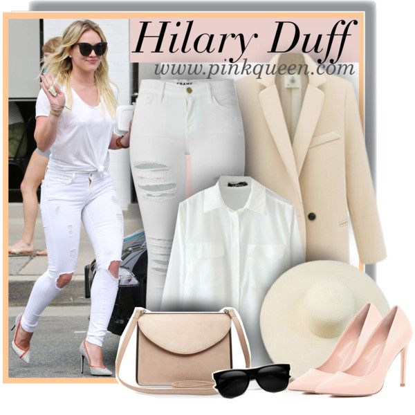 Hilary Duff dressed in all white on March 19th by anne-mclayne on Polyvore featuring Frame Denim, River Island, Carven, GetTheLook, StreetStyle, allwhite, CelebrityStyle and PinkQueen