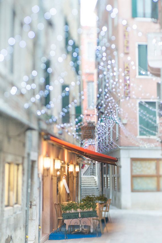 Twinkly fairy lights in Venice, Italy.