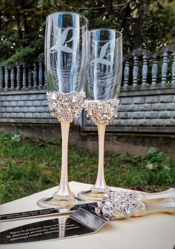Gold Wedding Glasses And Cake Server Set Knife Ivory Silver Or Toasting Flutes Champagne Of 4
